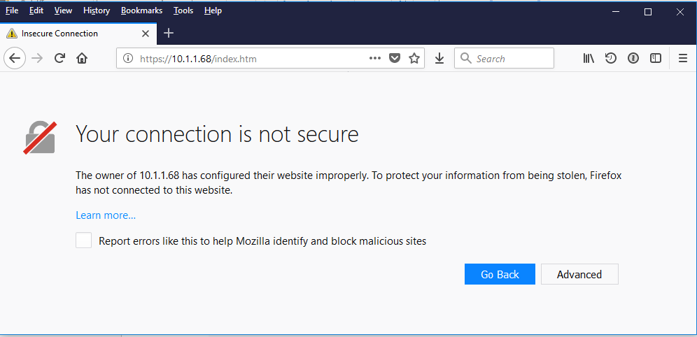 Browser warning you will see with self signed SSL certificates