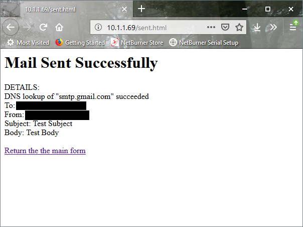SMTP confirmation notice