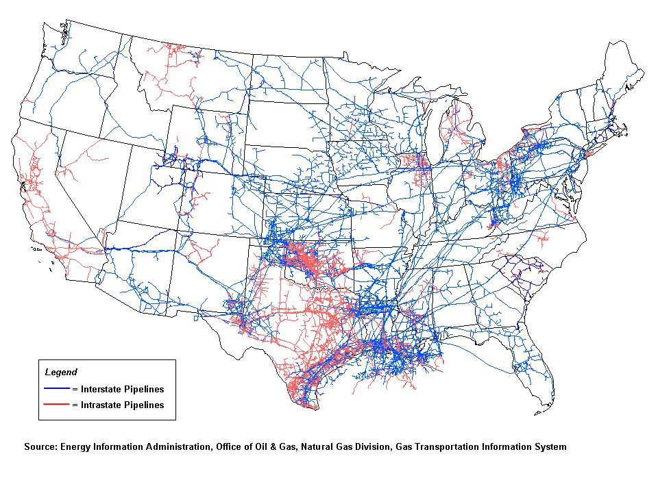 Figure showing the extent and complexity of the US natural gas pipeline infrastructure.