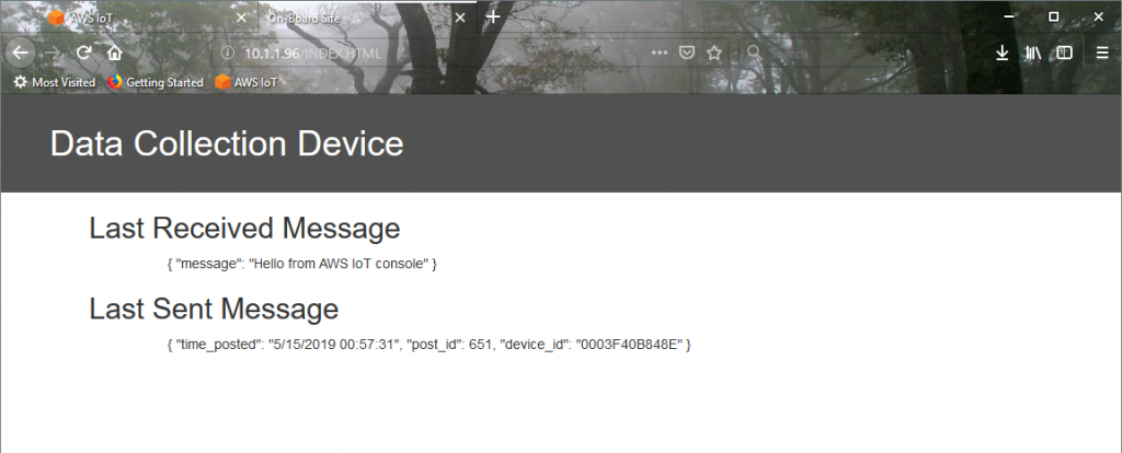 Web interface displaying last received and sent message via AWS IoT Core, MQTT and Netburner IoT Device