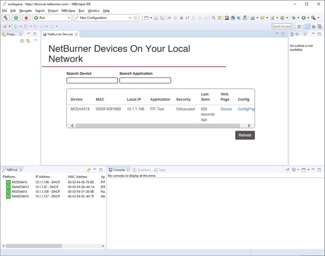 Discovering local NetBurner devices from NBEclipse.
