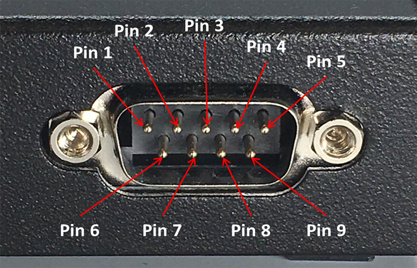 Labeled Male DB9 Connector