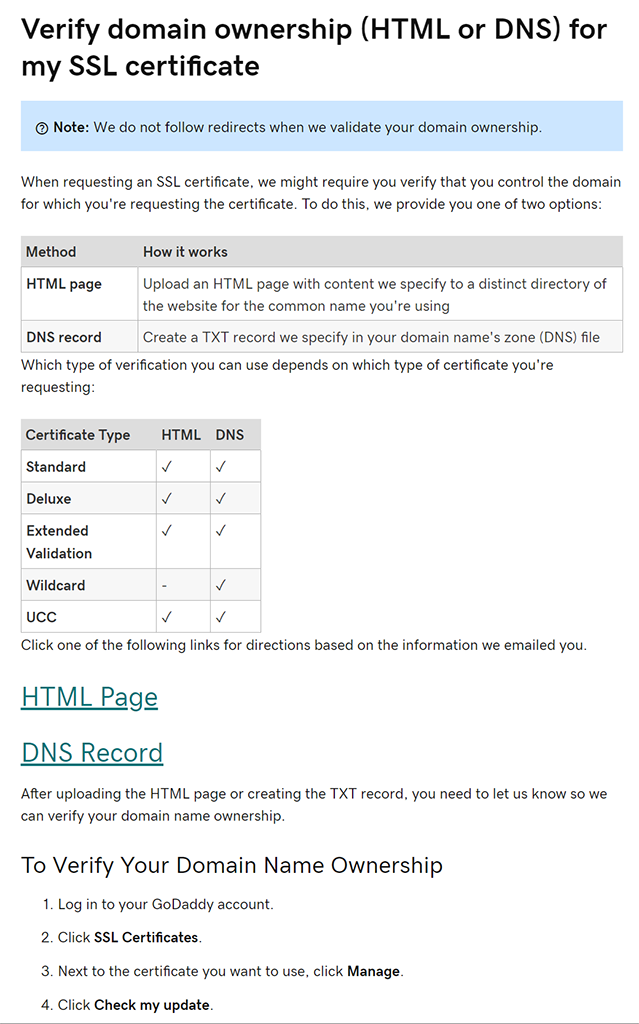 Steps needed to verify domain ownership with GoDaddy