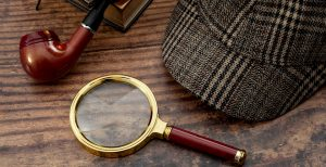 Magnifying glass and detective gear.