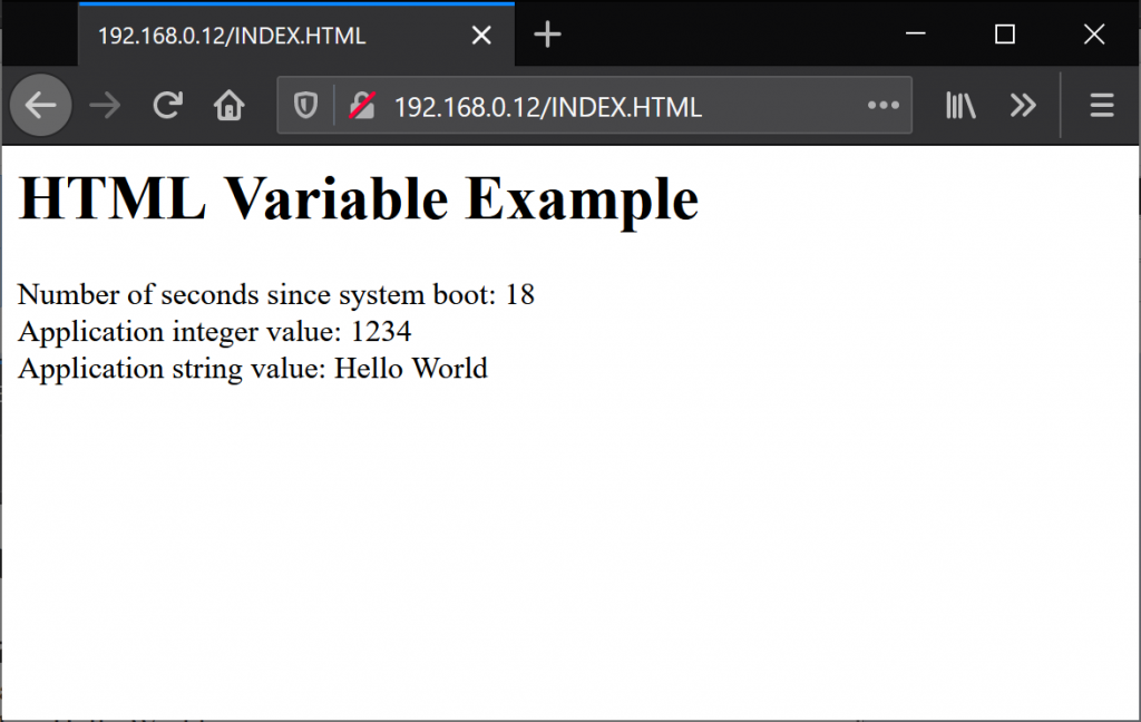 The output from the HTML VARIABLE tag.