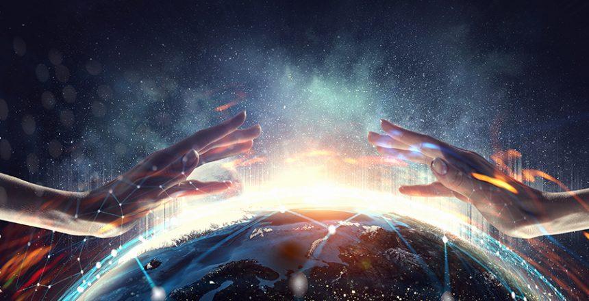 Hands over world.